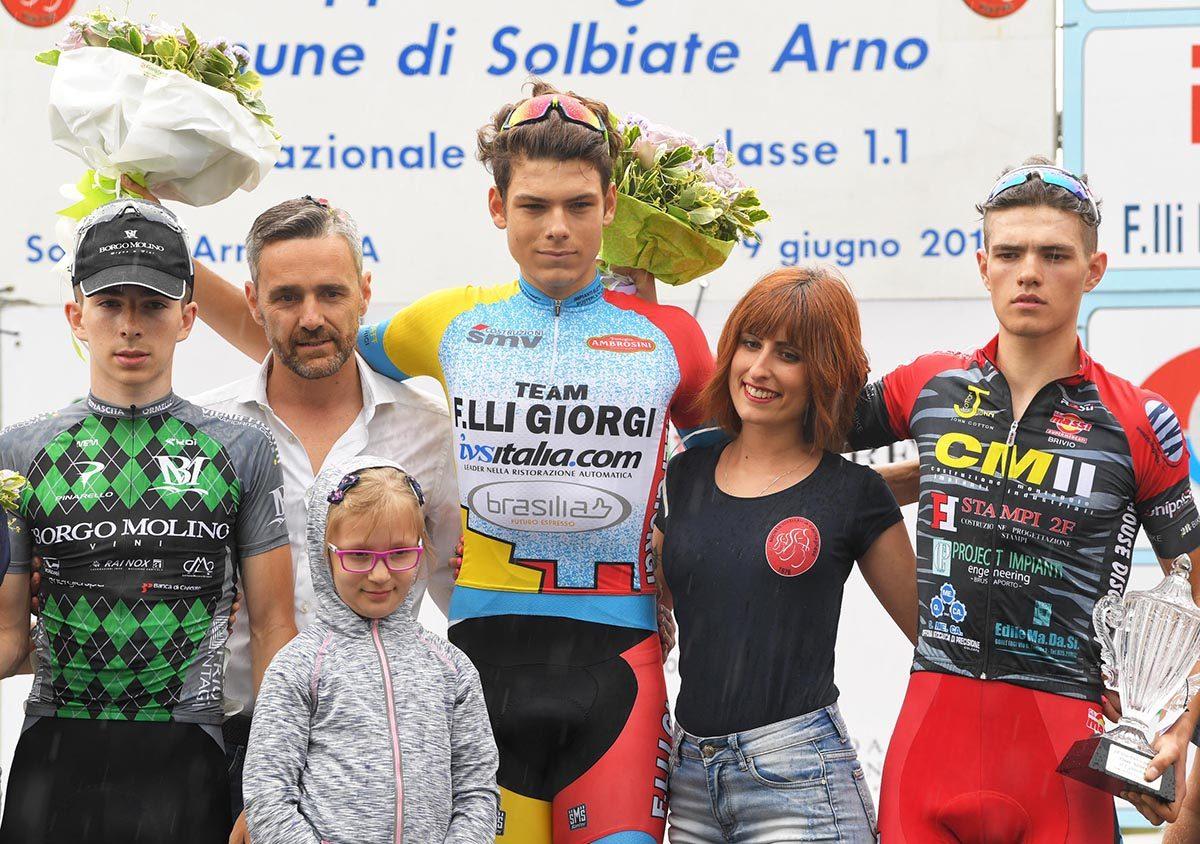 Il podio del Gp dell'Arno 2019 (foto Rodella)