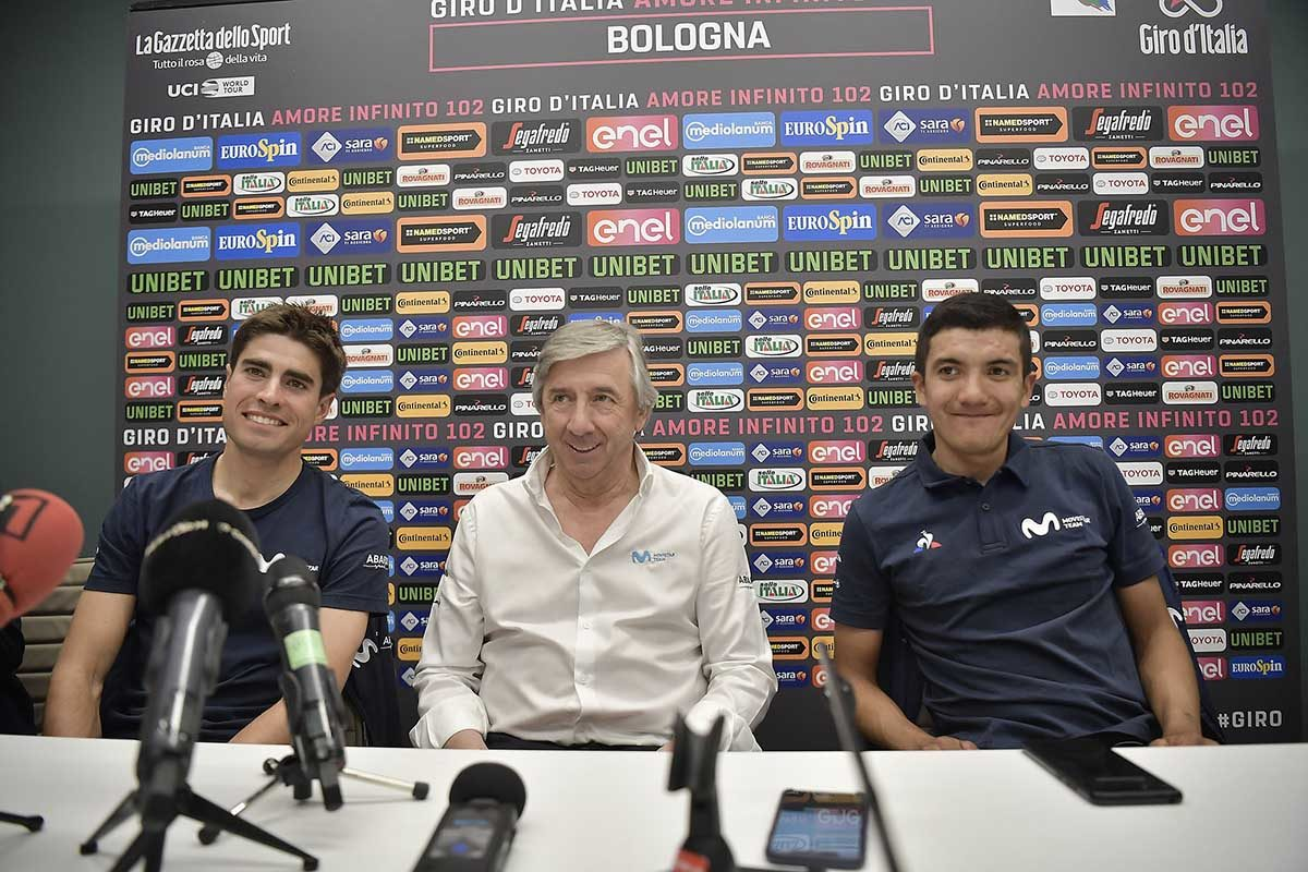 Mikel Landa, Eusebio Unzué e Richard Carapaz (foto LaPresse)