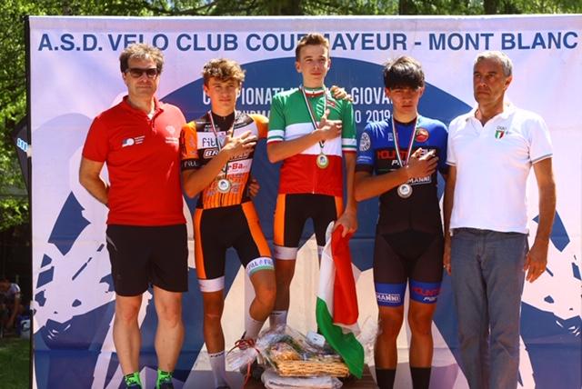 Il podio del Campionato Italiano Allievi 1° anno vinto da Fabio Bassignana