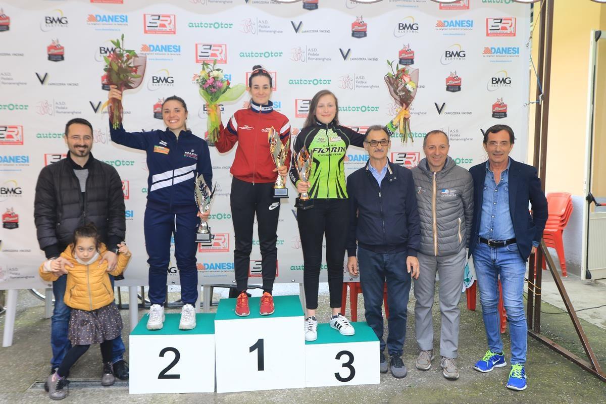 Il podio della cronometro Donne Allieve a Romanengo (foto Fabiano Ghilardi)