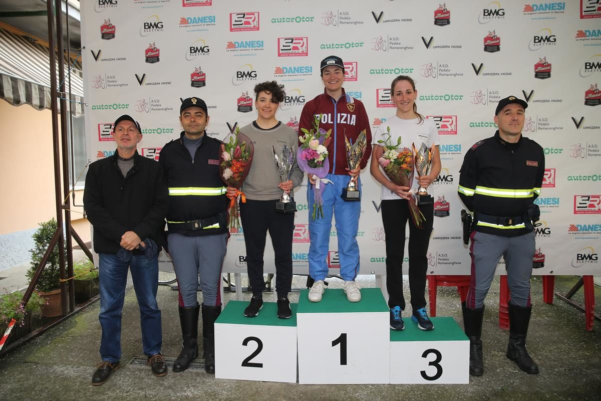 Il podio della cronometro Donne Elite a Romanengo (foto Soncini)