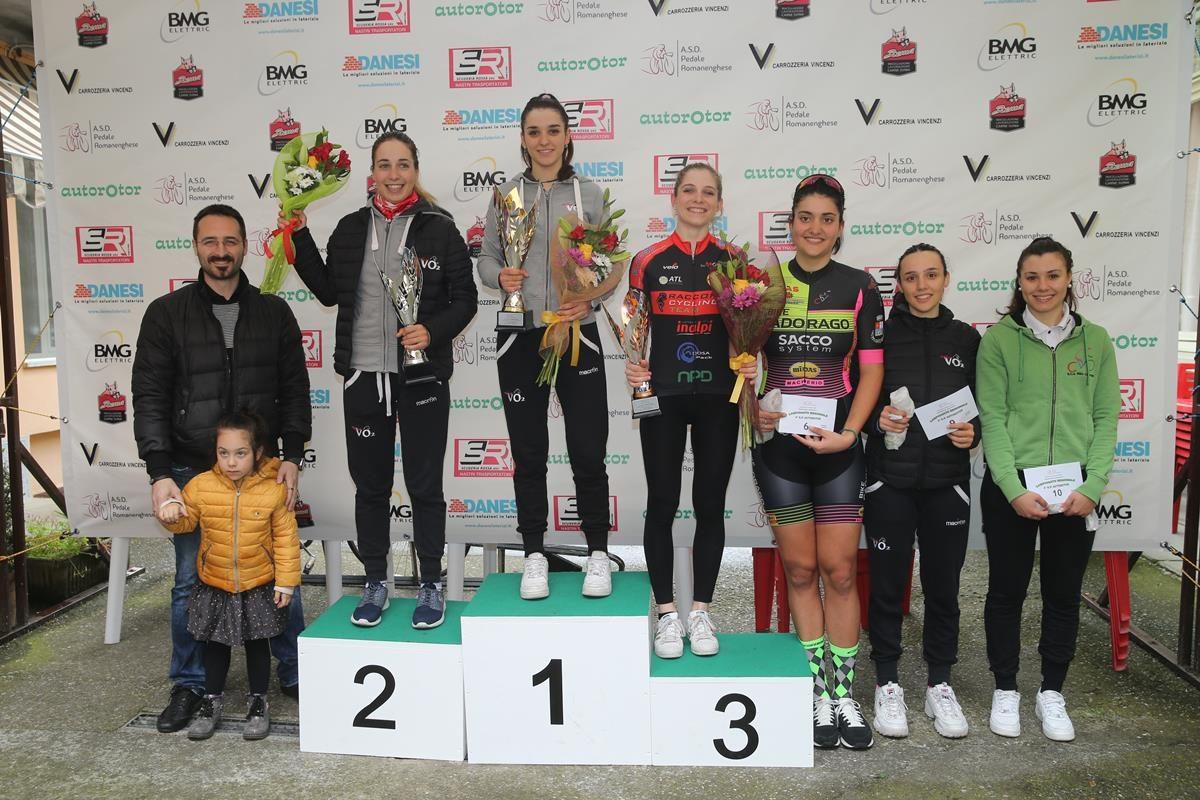 Il podio della cronometro Donne Junior a Romanengo (foto Soncini)