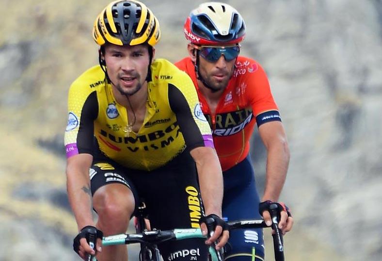 Roglic e Nibali in azione (foto LaPresse)