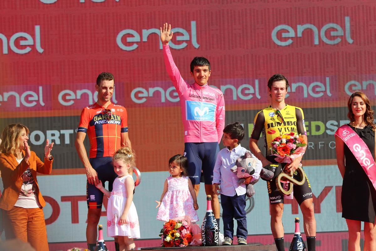 Il podio finale del Giro d'Italia 2019 (foto Photobicicailotto)