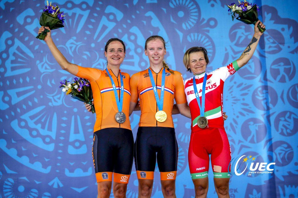 Il podio degli European Games Minsk2019, prova in linea femminile (foto UEC / Anton Vos / BettiniPhoto)