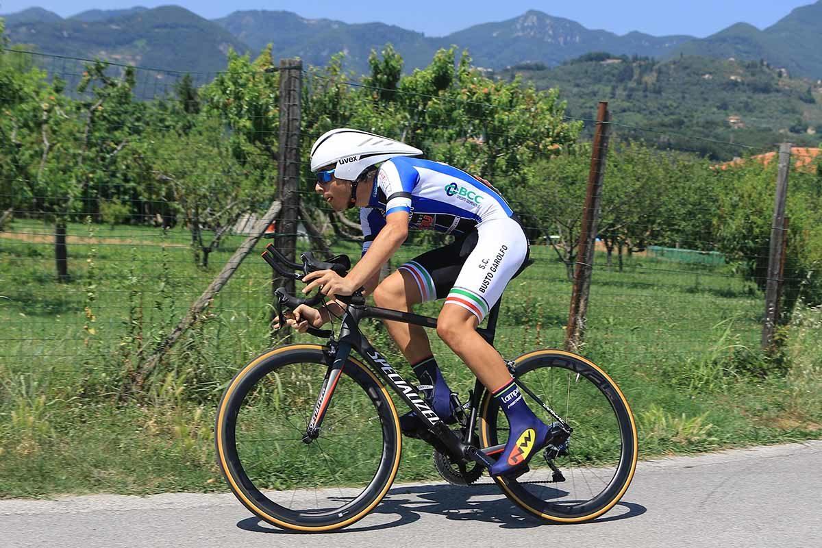 Dario Igor Belletta in azione al Campionato Italiano a cronometro Allievi (foto Fabiano Ghilardi)