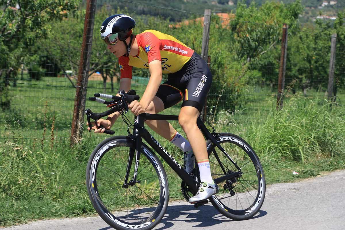 Stefano Cavalli in azione al Campionato Italiano a cronometro Allievi (foto Fabiano Ghilardi)