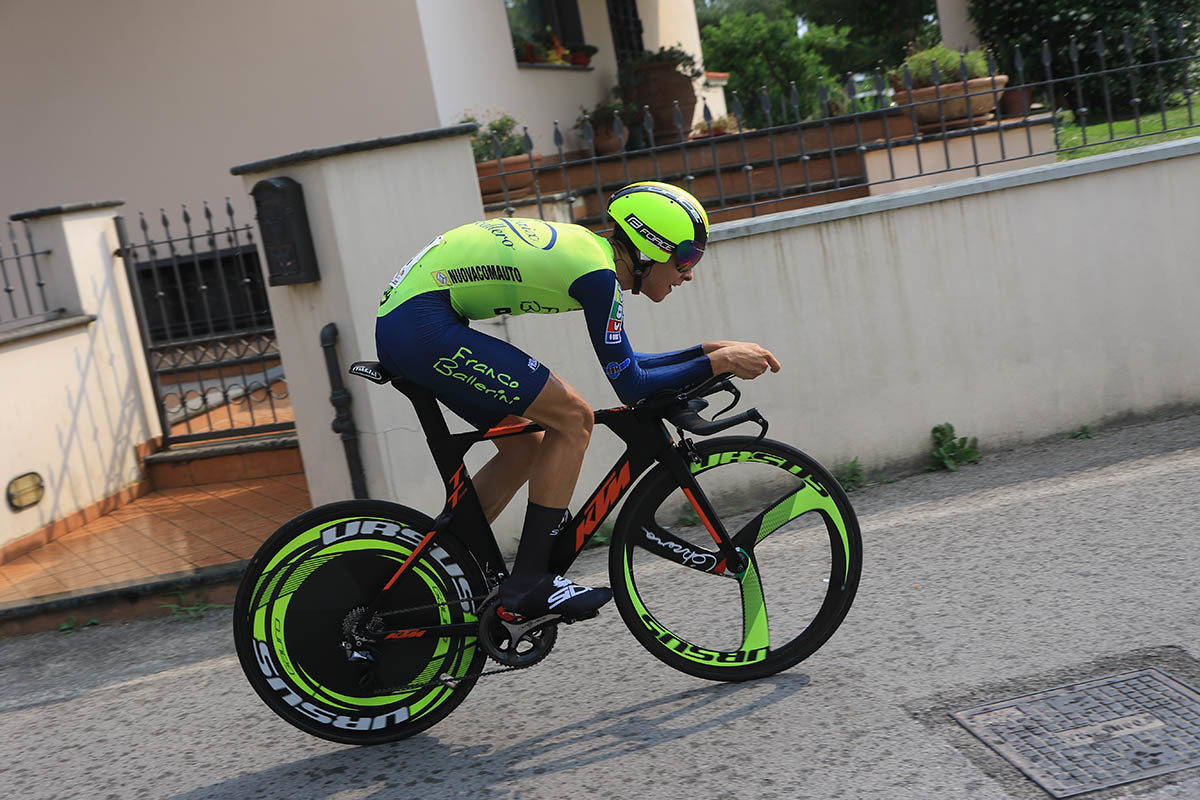 Antonio Tiberi in azione al Campionato Italiano a cronometro Juniores (foto Fabiano Ghilardi)