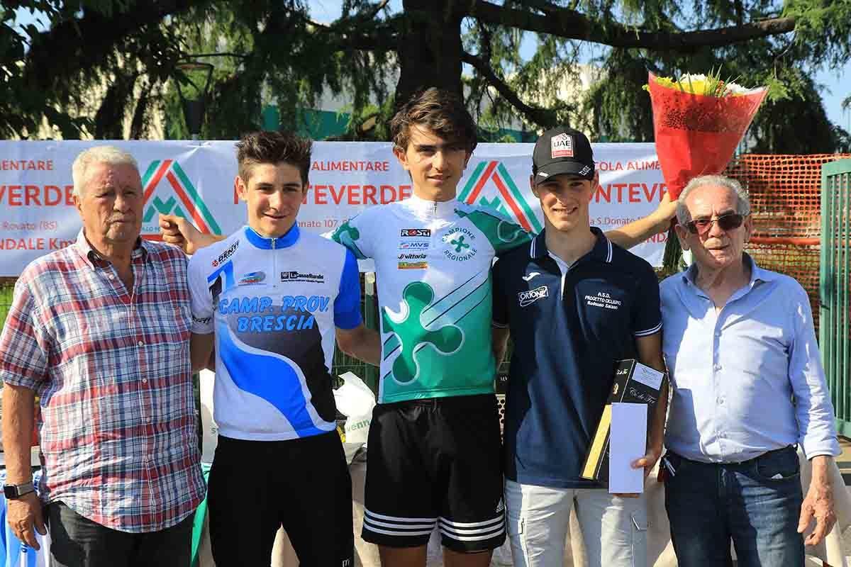 Il podio Allievi di Ospitaletto con Belletta campione lombardo a cronometro (foto Fabiano Ghilardi)