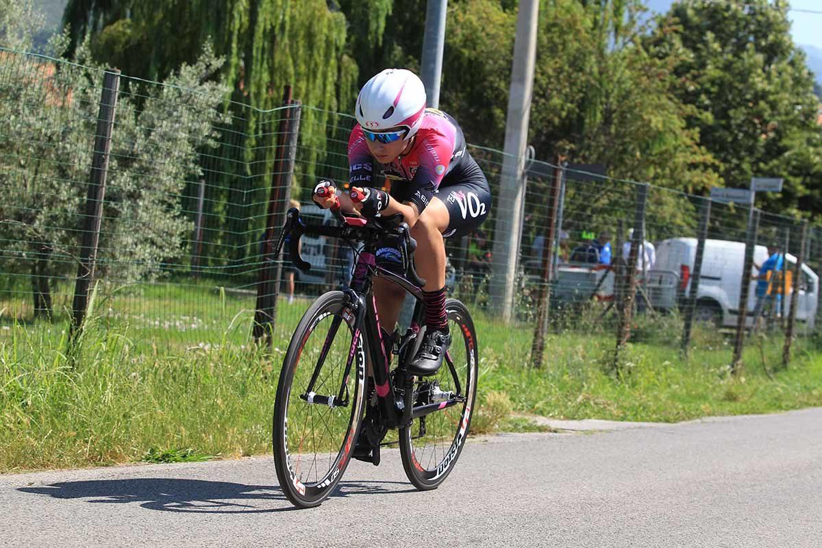 Martina Sanfilippo in azione al Campionato Italiano a cronometro Donne Allieve (foto Fabiano Ghilardi)