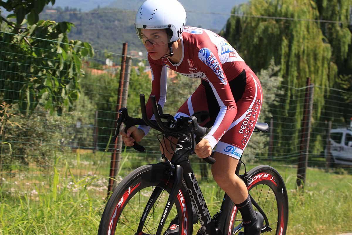 Francesca Barale in azione al Campionato Italiano a cronometro Donne Allieve (foto Fabiano Ghilardi)