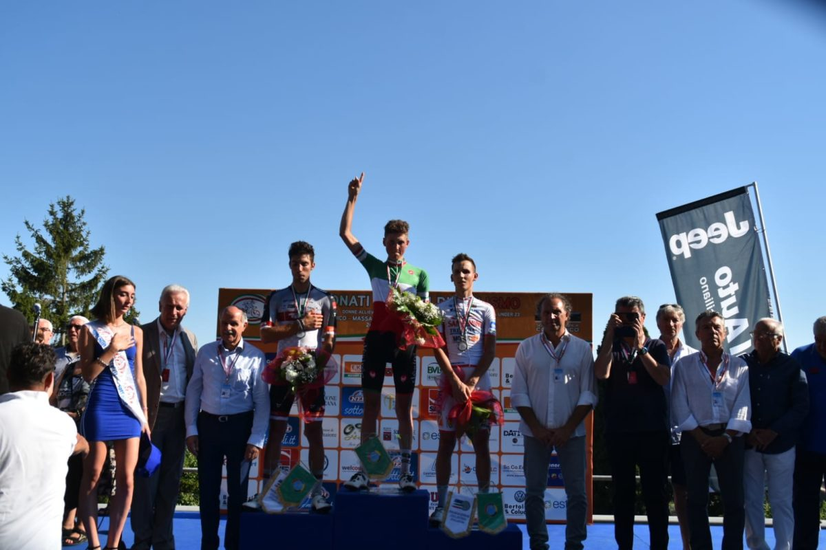 Il podio del Campionato Italiano Under 23 2019 vinto da Marco Frigo