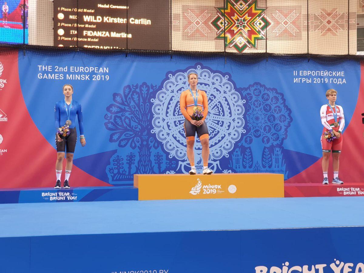 Il podio dello Scratch femminile con l'argento di Martina Fidanza