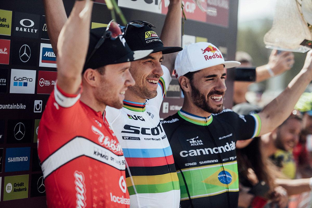 Matthias Flueckiger, Nino Schurter, Henrique Avancini sul podio di Vallnord