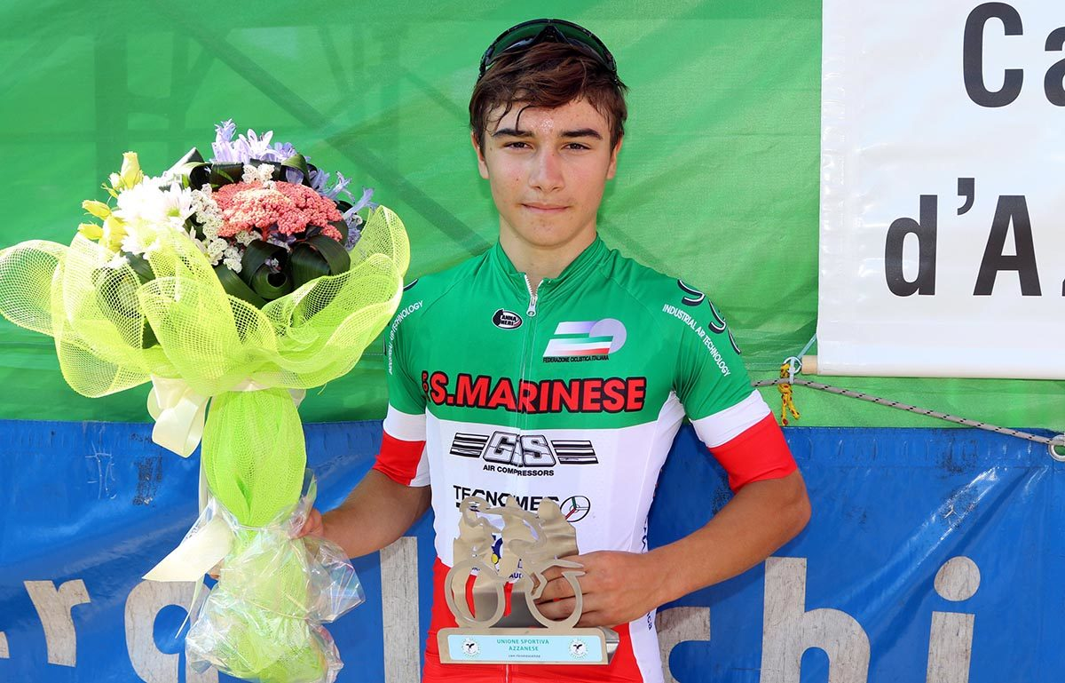 Franco Cazzarò vince la gara Esordienti 1° anno di Castel d'Azzano (foto Photobicicailotto)