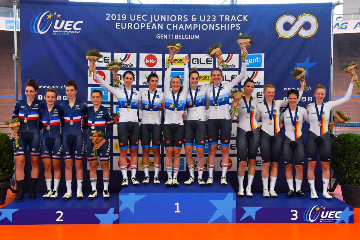 Il podio dell'Europeo dell'Inseguimento a squadre Donne U23 (foto UEC/BettiniPhoto)