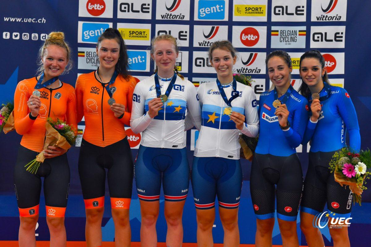 Il podio del Campionato Europeo Madison Donne Junior (foto UEC/BettiniPhoto)
