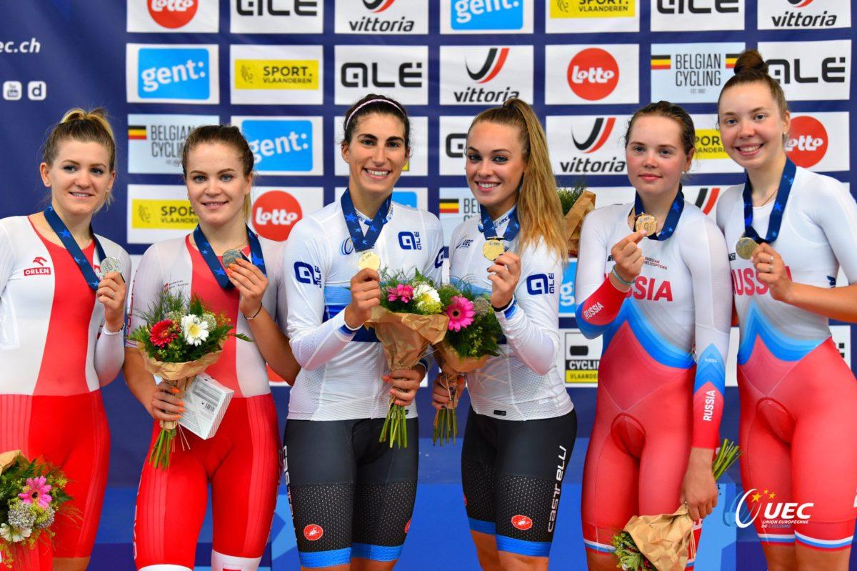 Il podio europeo Madison Donne U23 a Gand (foto UEC/BettiniPhoto)