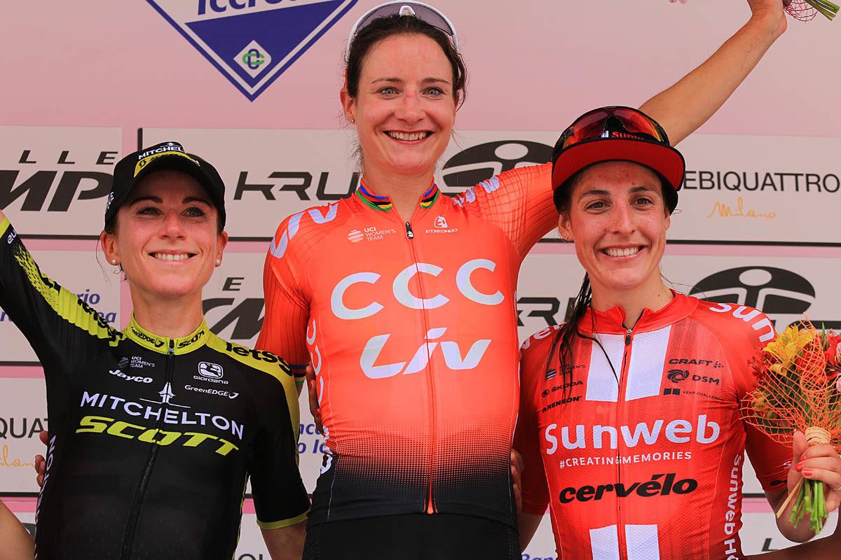 Il podio della seconda tappa del Giro Rosa 2019 (foto F.Ossola)