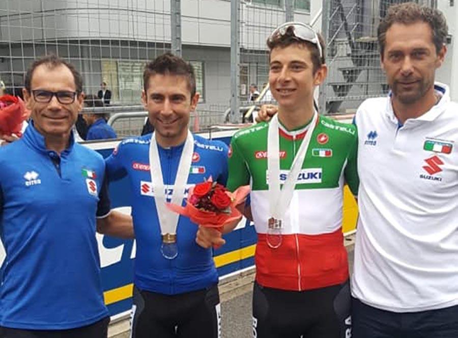 Diego Ulissi e Davide Formolo con Davide Cassani e Marco Velo