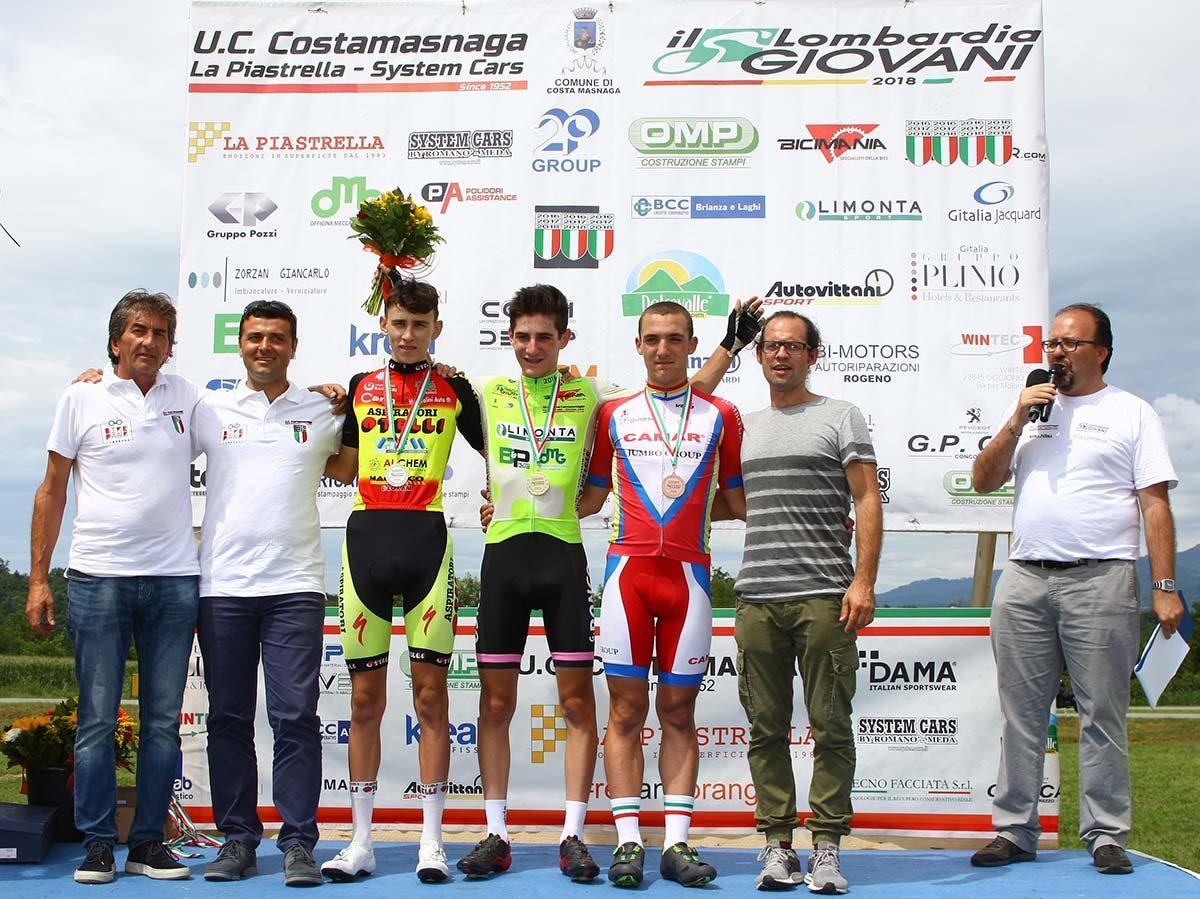 Il podio de Il Lombardia Giovani Allievi 2019 vinto da Riccardo Perani (foto Berry)