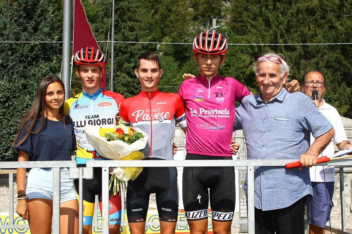 Il podio dell'ultima prova del Giro della Provincia di Como 2019 (foto Berry)