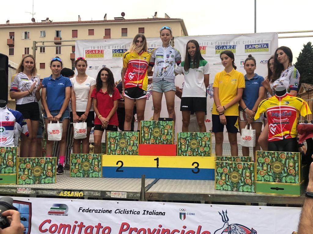 Il podio Donne Allieve della Cronoscalata Bologna San Luca