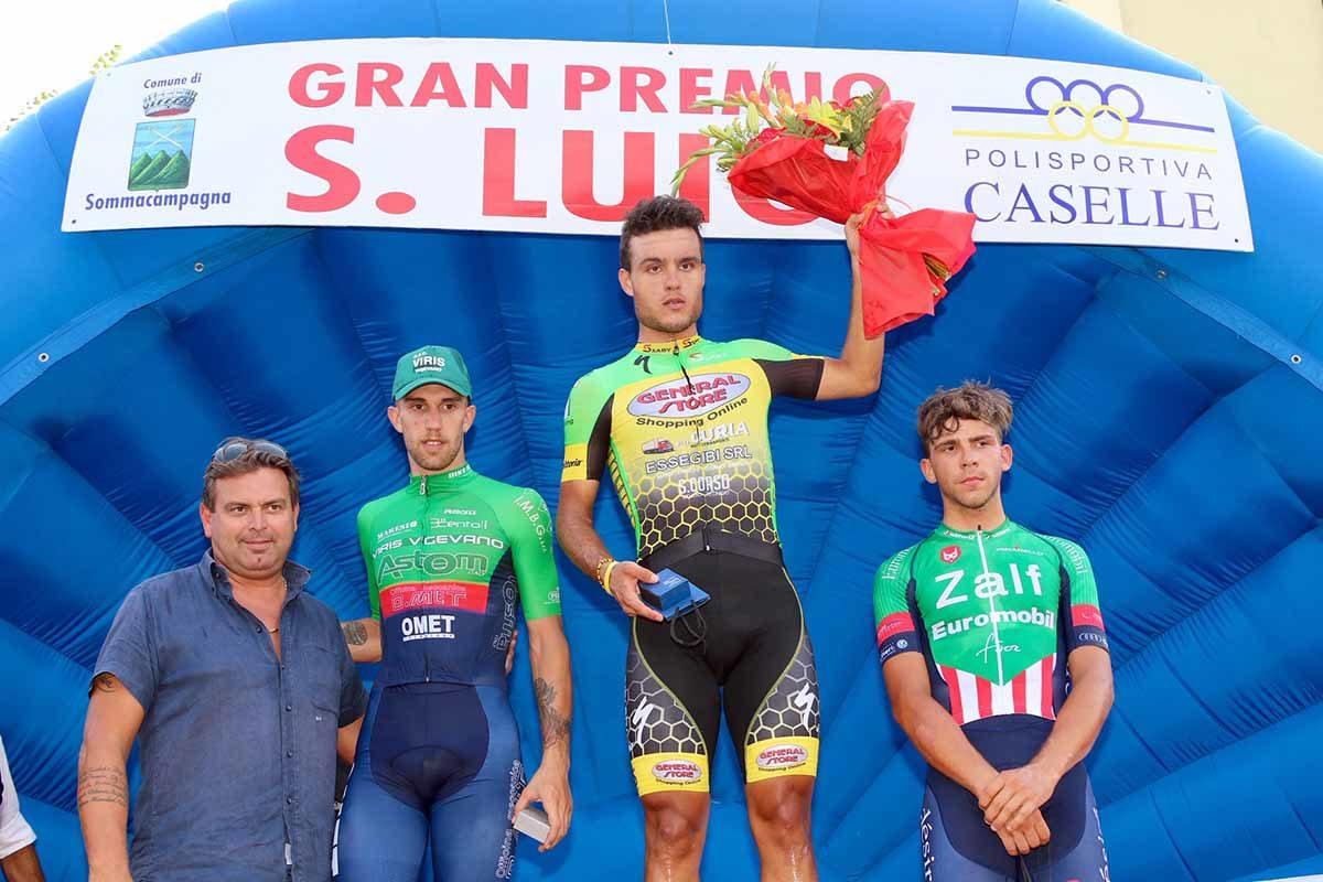 Il podio del Gp San Luigi 2019 (foto Photobicicailotto)