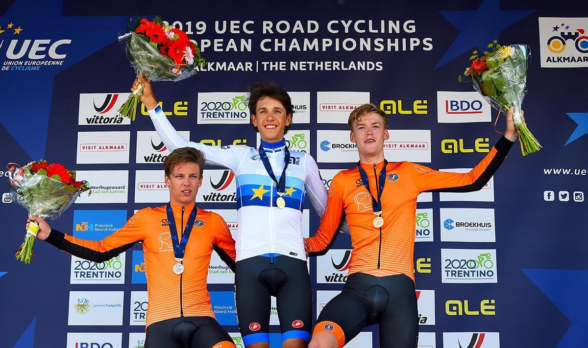 Il podio del Campionato Europeo a cronometro Juniores 2019 (foto Rodella)