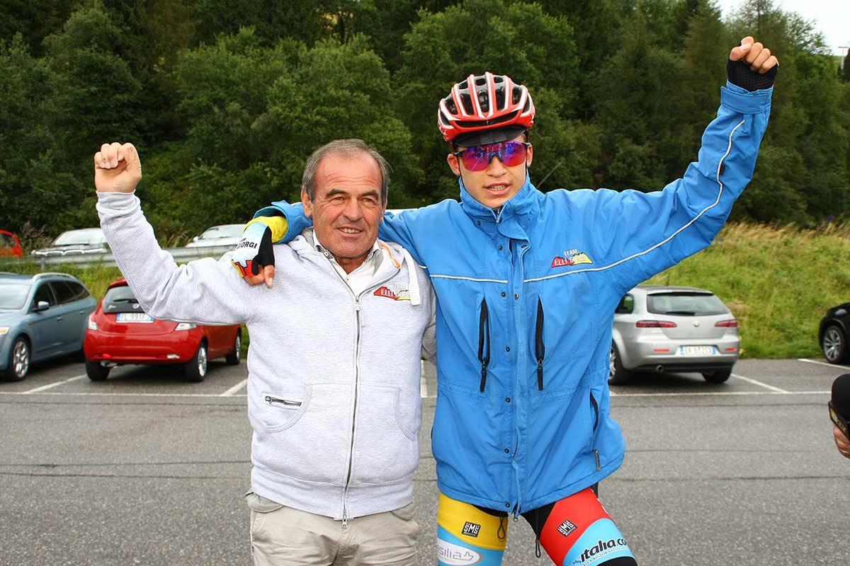Mathias Vacek festeggiato dal suo presidente Carlo Giorgi (foto Berry)