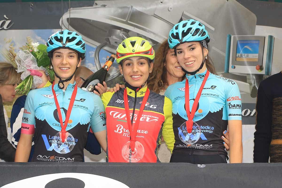 Il podio Donne Junior del Memorial Valeria Cappellotto 2019 (foto Fabiano Ghilardi)