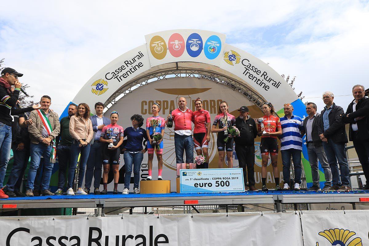 Il podio della Coppa Rosa 2019 (foto Fabiano Ghilardi)