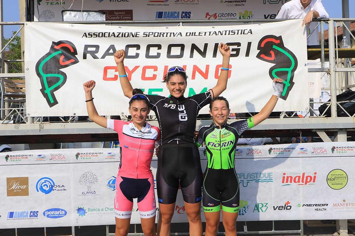 Il podio Donne Esordienti di Racconigi (foto Fabiano Ghilardi)