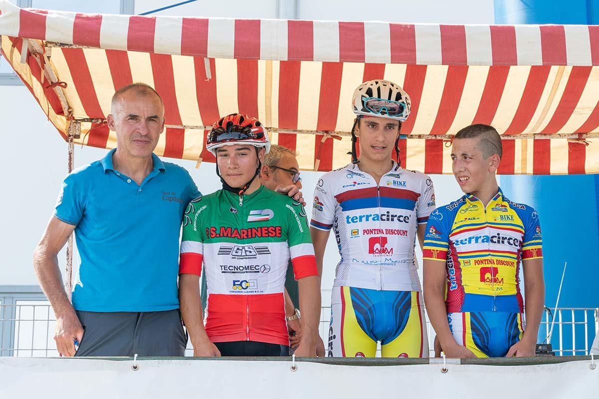 Il podio della gara Esordienti 1° anno di Santarcangelo di Romagna (foto Nicola Grilli)