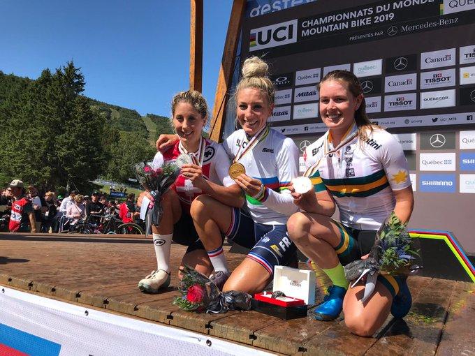 Il podio del Mondiale XCO Donne Elite 2019