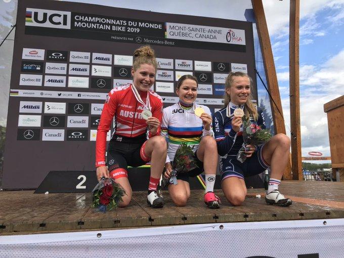 Il podio del Mondiale XCO Donne U23 2019
