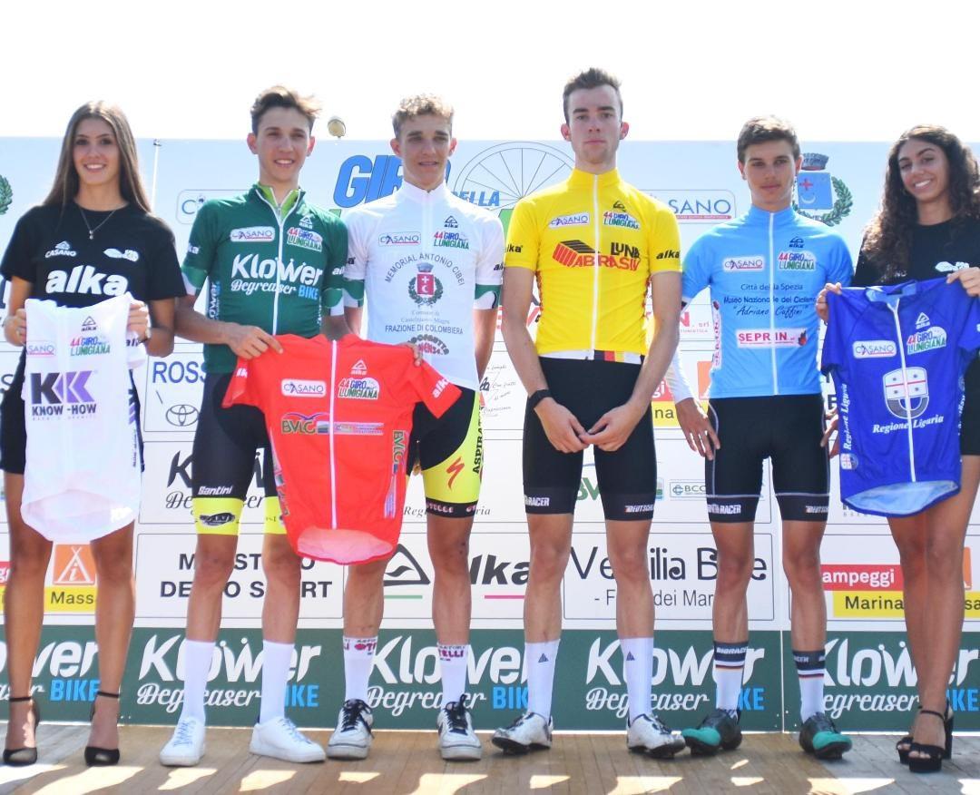 Le maglie dopo la prima semitappa della seconda tappa del Giro della Lunigiana (foto Rodella)