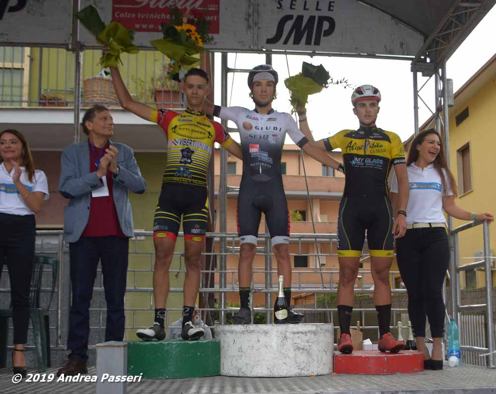 Il podio Juniores di Pretola
