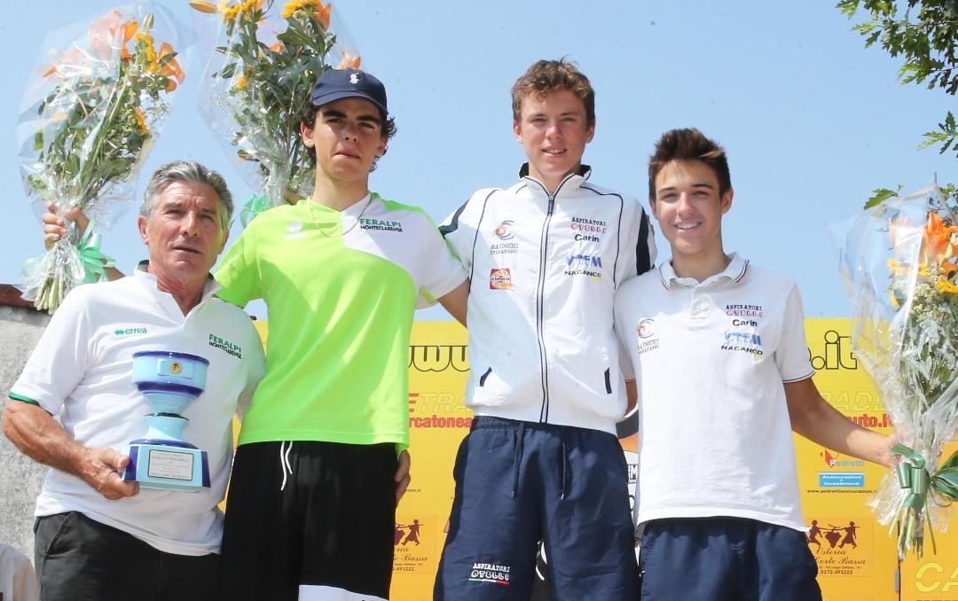 Il podio della gara Allievi di Persichello (foto Rodella)