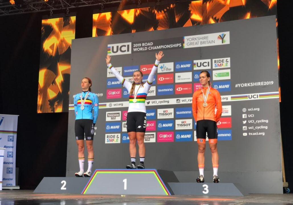 Il podio del Mondiale Donne Junior 2019 (foto SWpix)