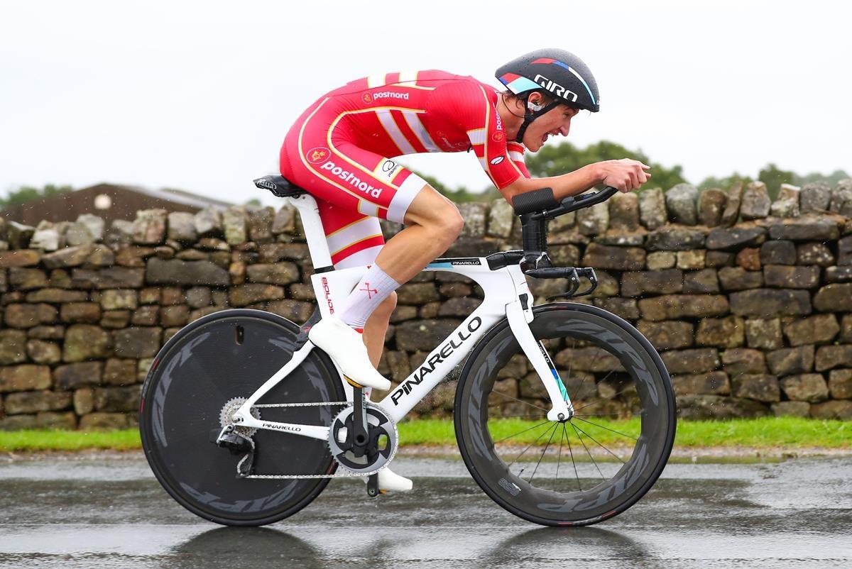 Mikkel Bjerg in azione al Campionato del Mondo Under 23 a cronometro 2019 (foto SWpix)