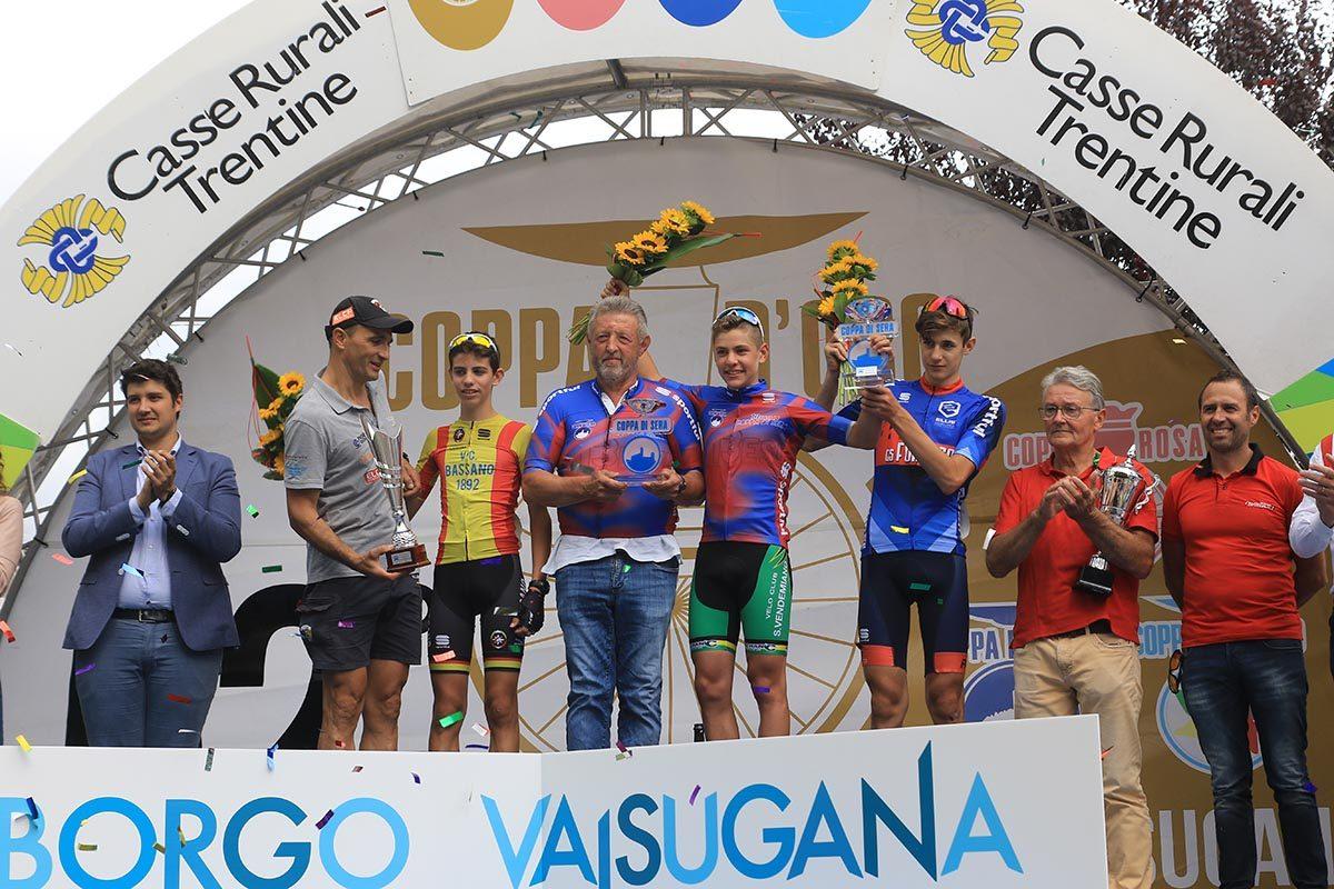Il podio della Coppa di Sera Esordienti 1° anno (foto Fabiano Ghilardi)