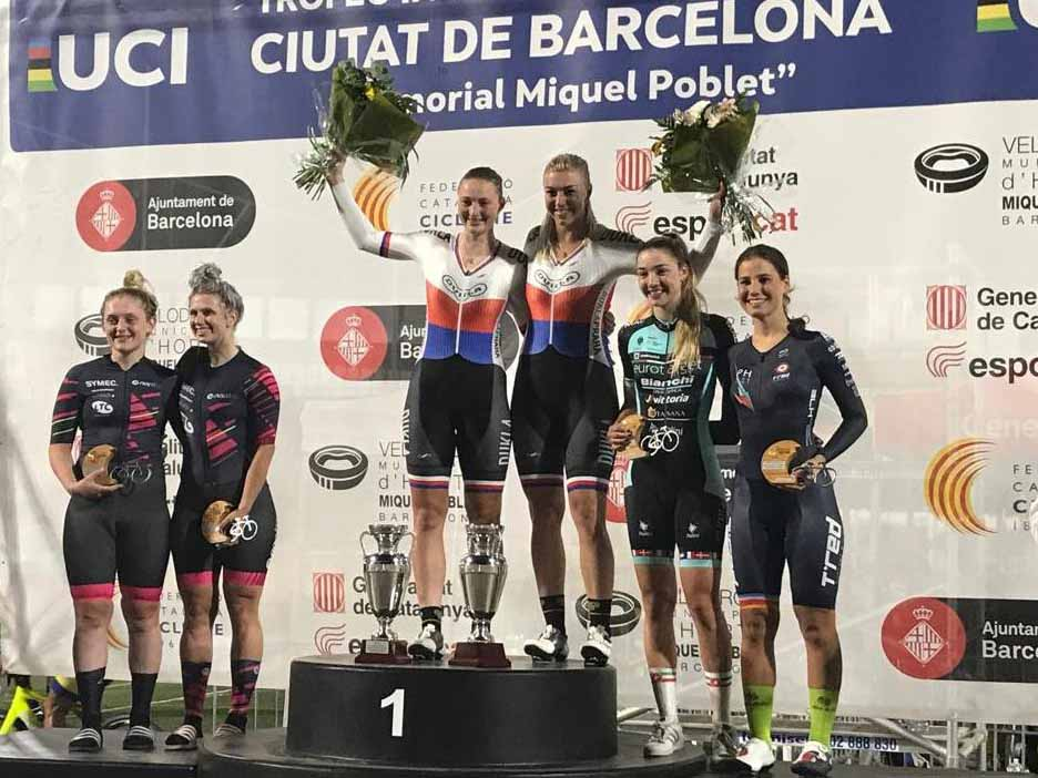 Podio Madison Donne Elite di Barcellona