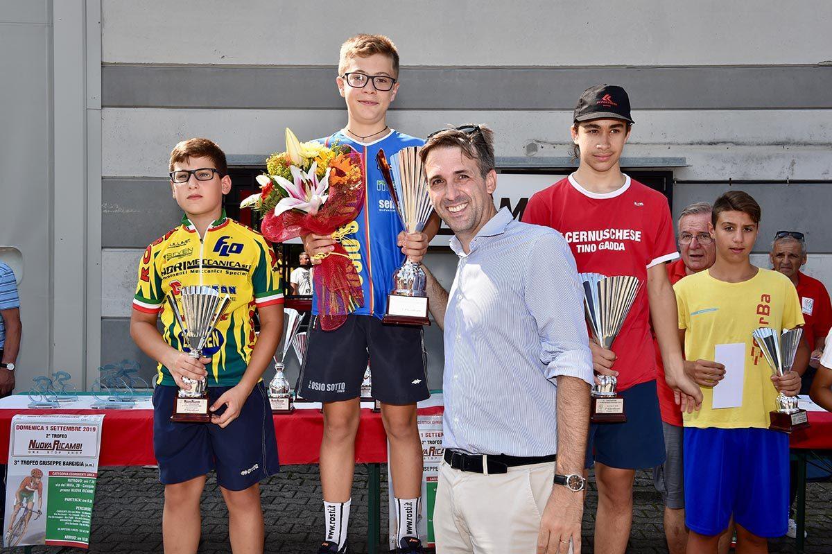 Il podio Esordienti 1° anno di Carugate (foto Berry)