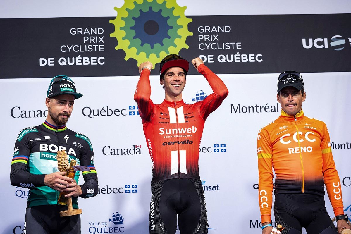 Il podio del Grand Prix Cycliste de Quebec 2019 (foto BettiniPhoto)