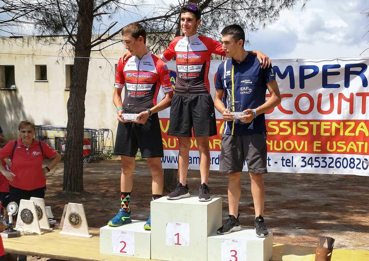 Il podio Juniores della gara di Guspini