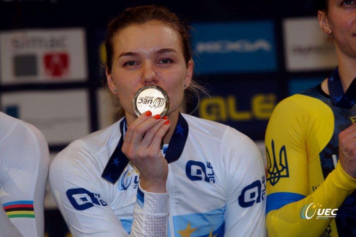 La russa Anasasiia Vainova  campionessa europea dei 500 mt lanciati (foto UEC/BettiniPhoto)