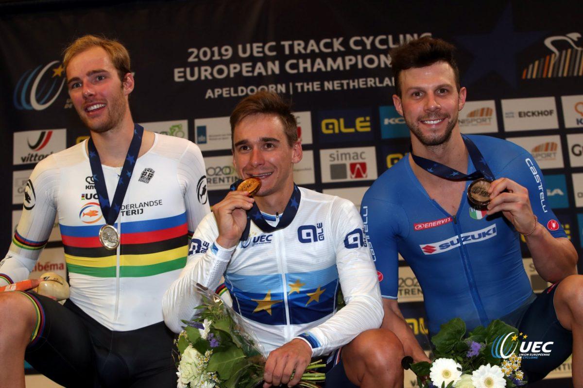 Il podio dell'Europeo Corsa a punti maschile 2019 (foto UEC/BettiniPhoto)