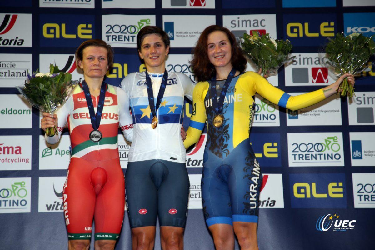 Il podio dell'Europeo Corsa a punti femminile 2019 (foto UEC/BettiniPhoto)