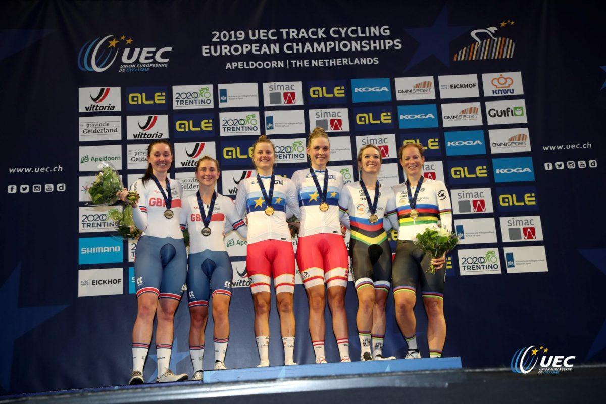 Il podio dell'Europeo Madison femminile 2019 (foto UEC/BettiniPhoto)